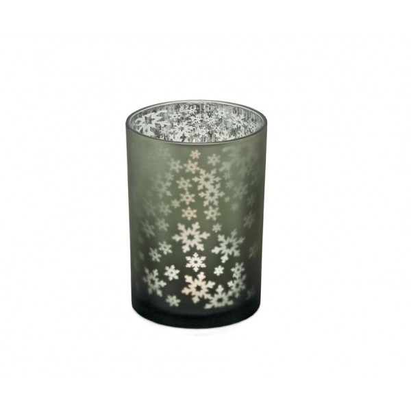 Декоративен стъклен свещник Снежинки