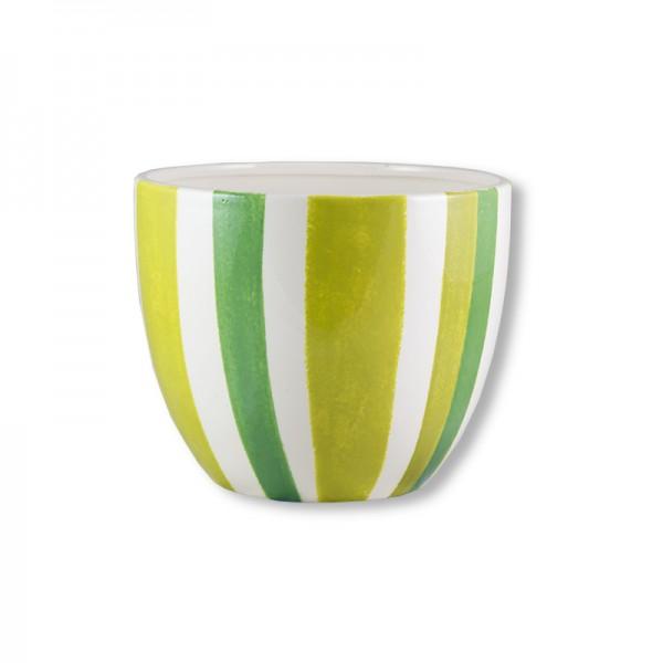 Керамична кашпа в зелено райе