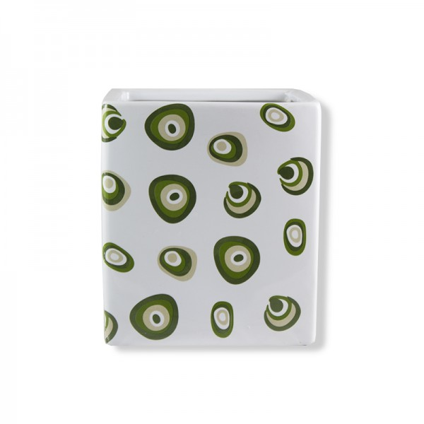 Керамична кашпа на зелени точки