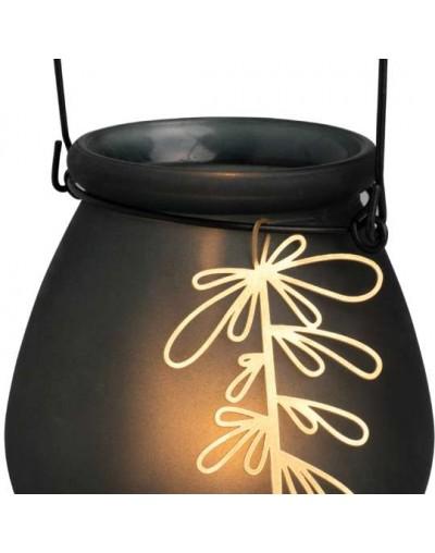Стъклен свещник с метална дръжка