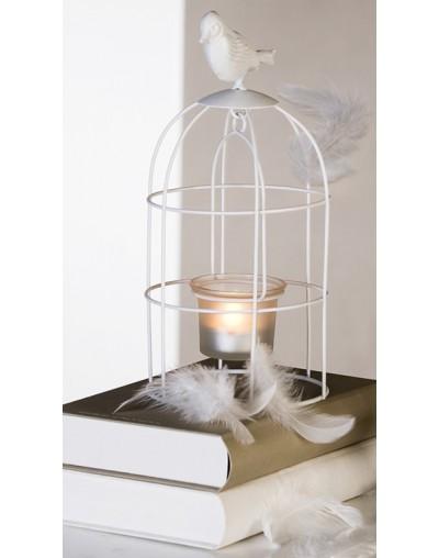 Свещник - кафез с птичка