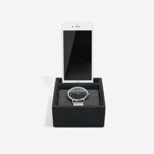 Поставка за часовник и телефон Блек
