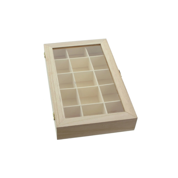 Дървена кутия с разделител