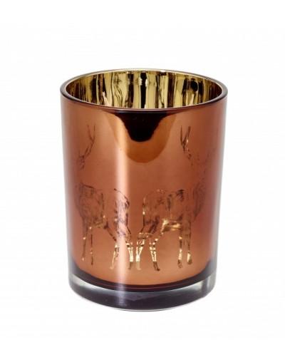 Декоративен стъклен свещник с елени M
